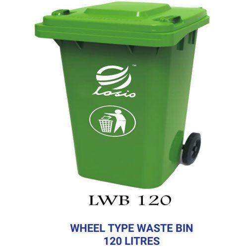 Losio PVC Green Wheel Type Waste Bin, Capacity: 120 L