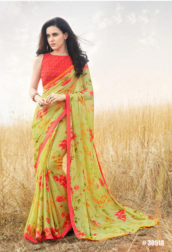 480d5d482de1a1 Light Green Georgette Party Wear Printed Saree, Rs 1680 /piece | ID ...