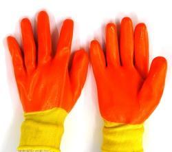 Yellow Nylon Shell With Orange Crinkle Latex Palm Coated Gloves, Size: Mideum And Large