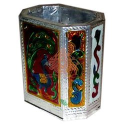Meena White Metal Pen Stand