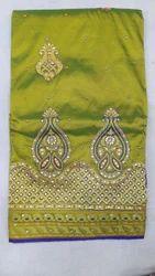 Half Fine Zari Gold Kundan Work Paithani Silk Saree, With Blouse Piece