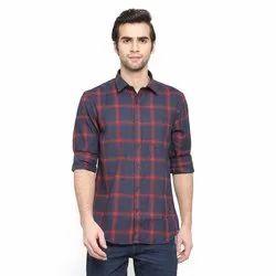 Collar Neck Long Sleeve Mens Casual Check Shirts