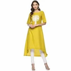 Yash Gallery Lime Yellow Embroidered High & Low Hemline Kurta