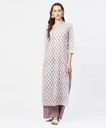 Off White Printed 3/4th Sleeve Straight Kurta With Striped Regular Fit Palazzo