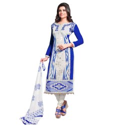 Blue Colored Cotton Unstitched Salwar Suit