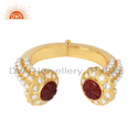 Hand Craved Red Onyx Pearl Gemstone Gold Plated Silver Cuff Bangles