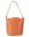 Cotton Jacquard Floral Self Weaved Peach Hand Bag