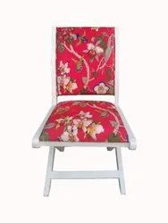 Foldable Chair By Jaipur Furniture Wooden Foldable Chair with Soft Foam Upholstery Seat