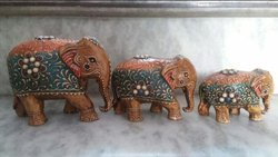 Antique Fine Down Trunk Wooden Elephant Statue