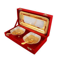 Silver Gold Plated Square Bowl Set
