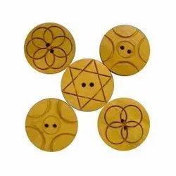 Brown Round Fancy Wooden Button