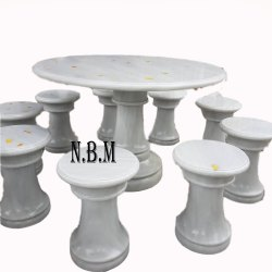White Marble Round Table Set
