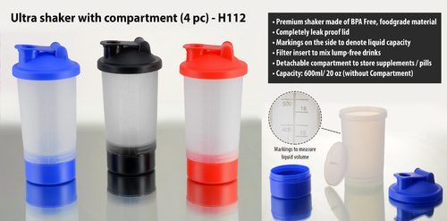 Ultra Shaker With Compartment, Capacity: 600 Ml