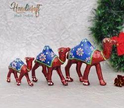 Paper Mache White Metal Craft Set Of 3 Showpiece Camel, Packaging Type: Box