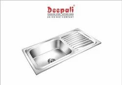 Deepali Glossy Stainless Steel Single Bowl Square Sink With Single Drain Board, 41x20