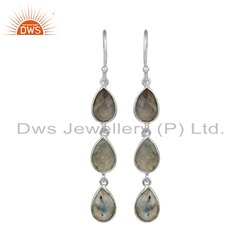 Natural Labradorite Gemstone 925 Sterling Silver Dangle Earrings