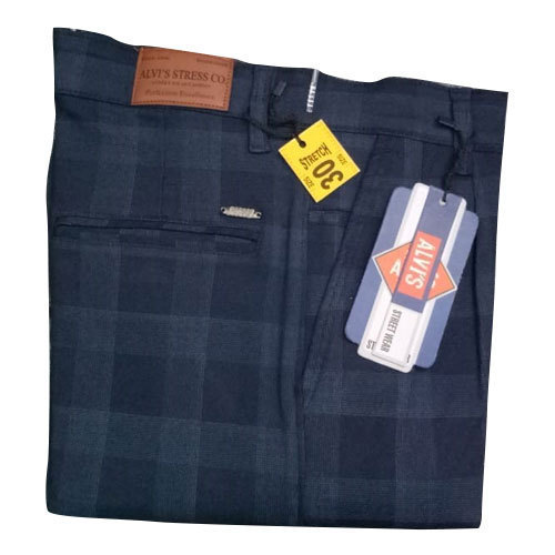 Mens Cotton Blue Checked Trouser Size 30 Rs 260 Piece Id