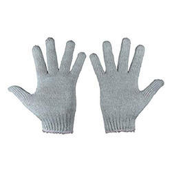 Grey Cotton Knitted Gloves