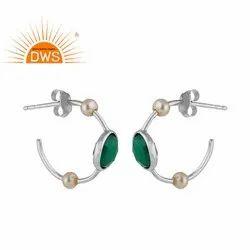 925 Silver Green Onyx Pearl Gemstone Designer Hoop Earrings Jewelry