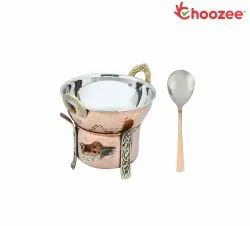 Choozee -Copper/Steel Serving Item Set of 3 Pcs (Including Food Warmer, Kadhai and Serving Spoon)