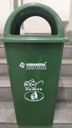 Green Standing 80 Litre Dome Shape Waste Bins, Capacity: 100, for Outdoor