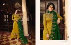 Mahavir Textiles Unstitched Satin Georgette Suit, Wash Care: Handwash