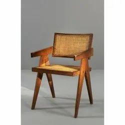 Brown Wooden Mesh Chair