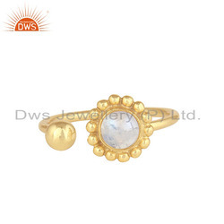 Rainbow Moonstone Gold Plated 925 Silver Flower Design Women''s Rings