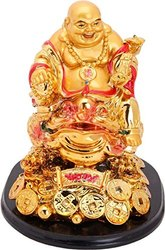 Kesar Zems Refreshdeal Laughing Buddha Sitting on Money Frog Showpiece - 14 cm