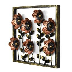 Square Multicolor Iron Floral Wall Art Decor Panel for Residential