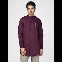 Green Hill Men's Designer Maroon Kurta Shirt