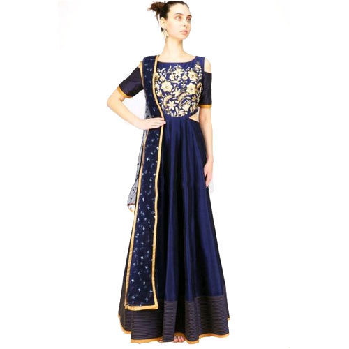 Ladies Embroidered BlueLong Party Wear Dress, Size: S - XL