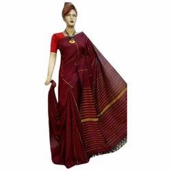 Cotton Meroon Color Handloom Saree