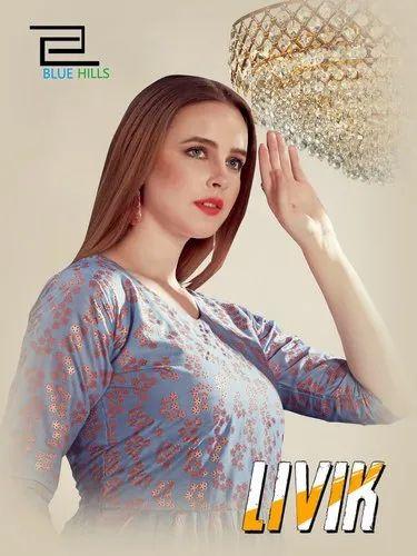 Blue Hills Present Livik Vol 1 Cotton Long Gown Style Kurti Wholesale