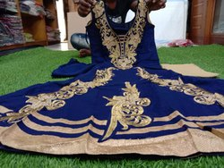 Ladies Embroidered Blue Gown