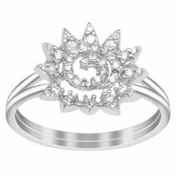 925 Sterling Silver Sun Flower Wedding Ring