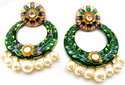 Kumar Jewels Artificial New Elegant Green Enamel Fresh Pearl Droplets Round Earrings
