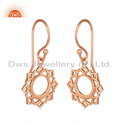 Rose Gold Plated Vishuddha Chakra Silver Drop Earrings