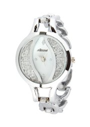 Silver Belt White Dial Rich Looking Ladies Watch