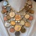 Women Fashion Designer Brass Coin Necklace