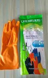Rubber Orange Chemichal Hand Gloves