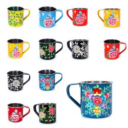 Handicraft-Palace Hand Painted Flower Coffee Tea Water Cup Decor for Home