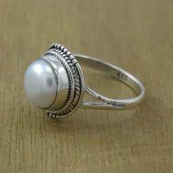 Pearl Gemstone Handmade 925 Sterling Ring