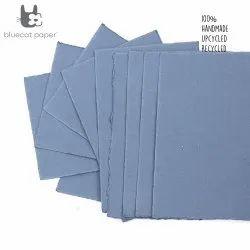 Handmade Paper, Fine-Cut, A4 Size  - Light Blue