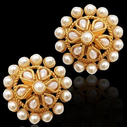 Studs Ladies Stud Earrings Imitation Pearl Studs Kundans Designer