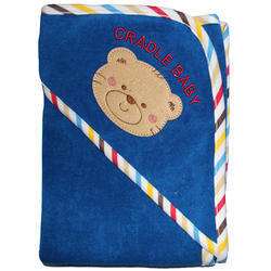 Dark Blue Cotton Infant Teddy Hooded Towels