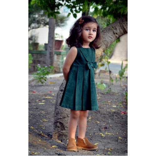 7f36100feae7 100 % Mill Made Cotton Baby Girl Girls Green Plated Dress With Cute ...
