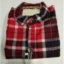 Cotton Slub Stand Collar Mens Checked Shirt