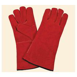 Flock Lined New Leather Safety Winter Hand Glove, Length: 35 Cm