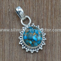 Unique 925 Sterling Silver Copper Turquoise Gemstone Jewelry Set